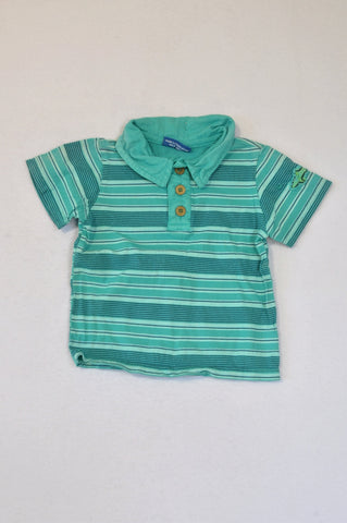 Naartjie Teal & Navy Striped Collared T-shirt Boys 6-12 months