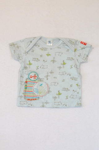 Naartjie Soft Blue Hippo & Tree Print T-shirt Boys 0-3 months