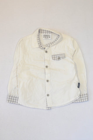 Keedo White & Grey Check Trim Long Sleeve Button Up Shirt Boys 18-24 months