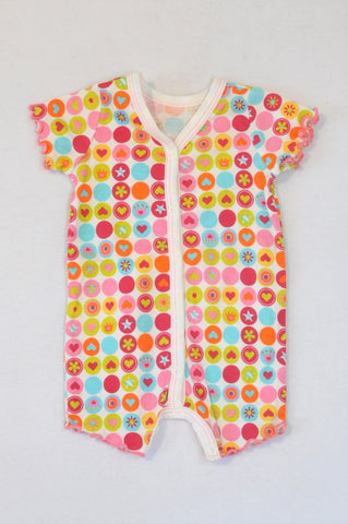 Woolworths White, Pink & Lime Dotted Flower & Heart Romper Girls 0-3 months