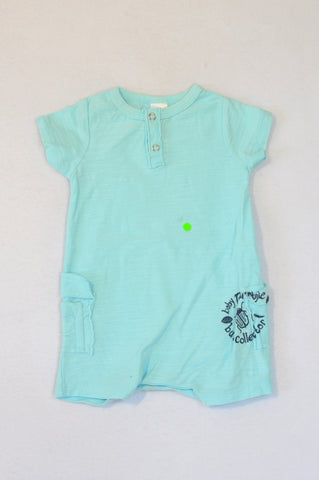 Naartjie Light Blue Heathered Romper Boys 0-3 months