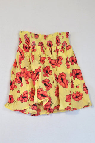 Unbranded Yellow & Pink Flower Pleated Lined Skirt Girls 2-3 years