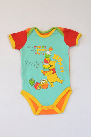 Woolworths Blue Red & Yellow Winnie The Pooh Hunny Baby Grow Unisex 3-6 months