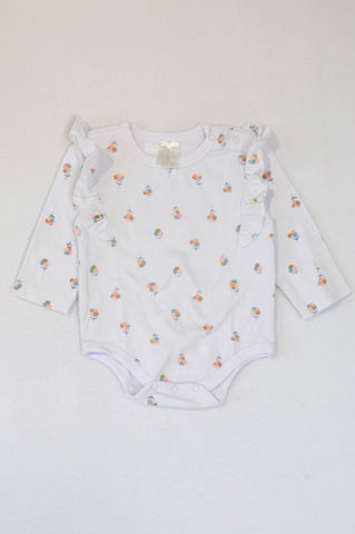 Clicks White Ditsy Flower Frill Long Sleeve Baby Grow Girls 3-6 months