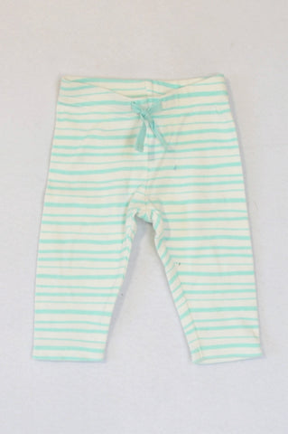 Gymboree Aqua Stripe Drawstring Leggings Girls 3-6 months
