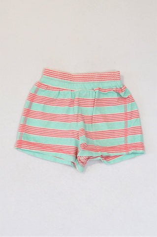 Ackermans Aqua & Pink Striped Shorts Girls 3-6 months