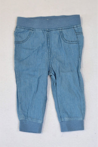 Clicks Chambray Blue Cuffed Pants Unisex 6-12 months