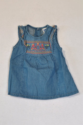 Ackermans Chambray Embroidered Smock Style Dress Girls 3-6 months