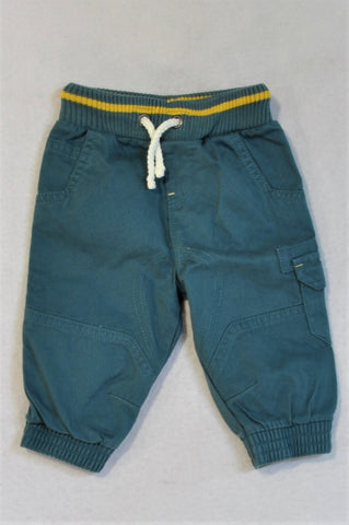 M&S Blue Cuffed Cargo Pants Boys 3-6 months
