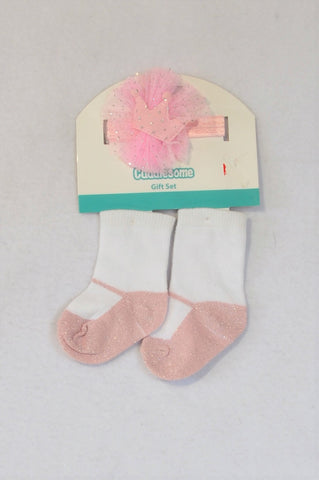 New Pep Pink Headband & Ballet Pump Socks Girls 0-3 months