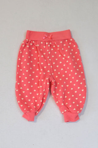 Ackermans Pink & White Heart Track Pants Girls 3-6 months