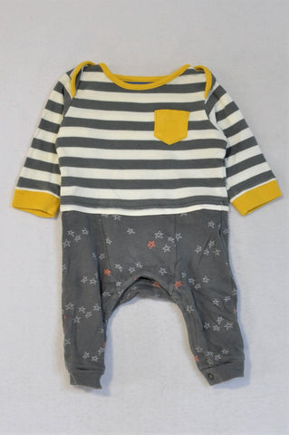 M&S Grey Striped Stars Onesie Boys 3-6 months
