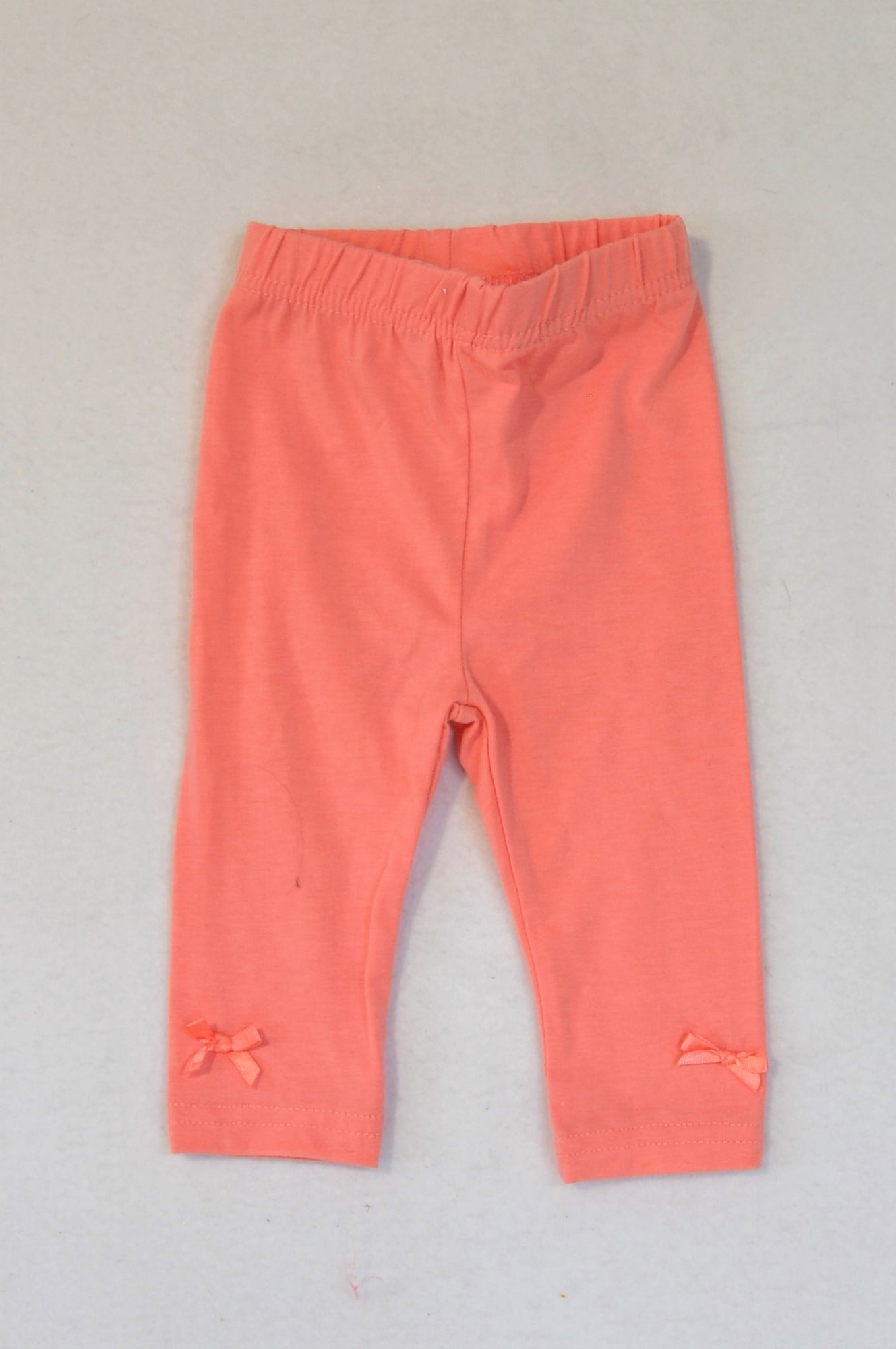 Clicks Coral Bow Detail Leggings Girls 3-6 months