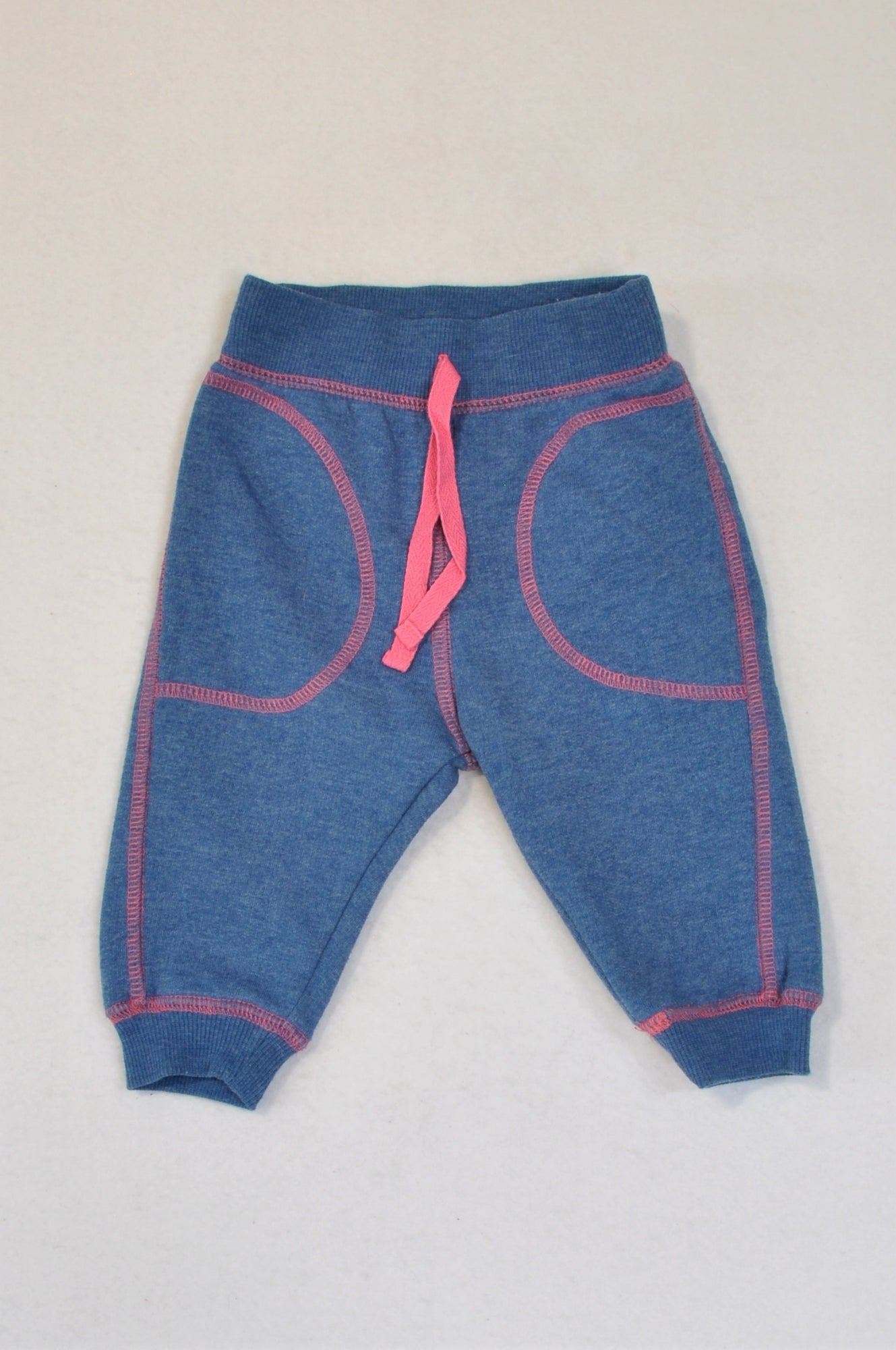 Woolworths Dusty Blue & Pink Stitch Track Pants Girls 3-6 months