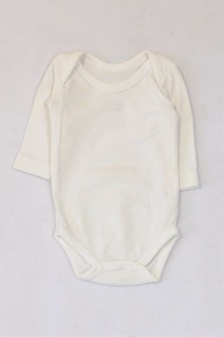 Woolworths Basic White Long Sleeve Baby Grow Unisex N-B