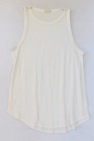 Cotton On White Lightweight Ribbed Tank Top Women Size XS
