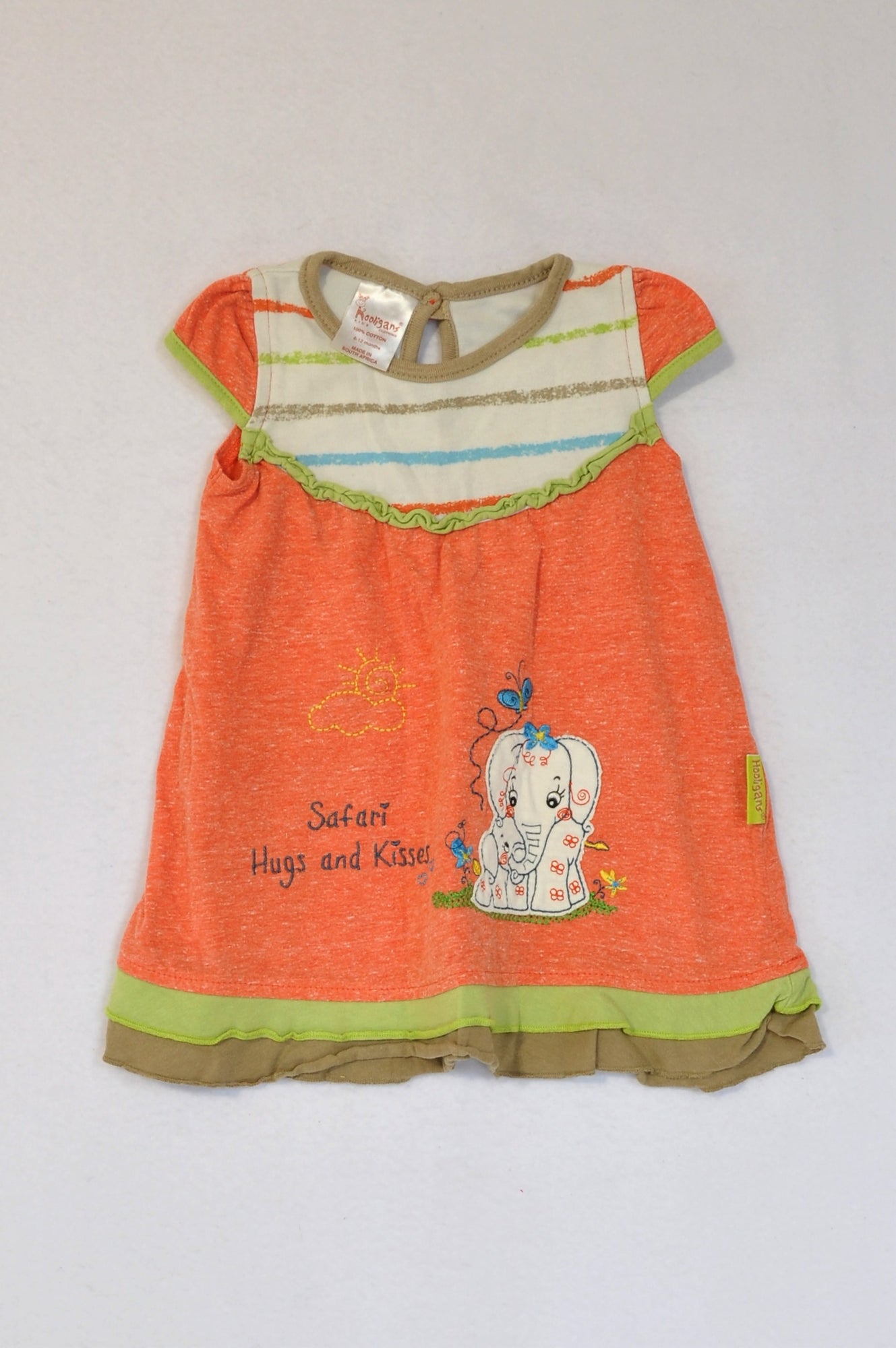 Hooligans Orange Stripe Safari Elephant Dress Girls 6-12 months