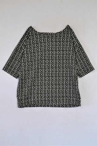 Next Black With White Diamond Pattern Blouse Women Size 12