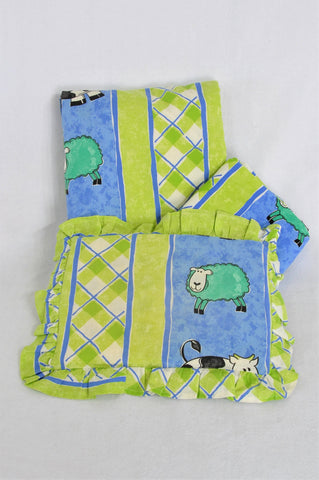 Unbranded Green And Blue Cow And Sheep Pillow, Duvet And Cot Bumper Cot Bedding Set Unisex 6 months-3 years