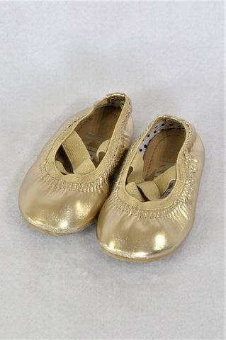 Cotton On Gold Metallic Cross Strap Shoes Girls Toddler Size 6