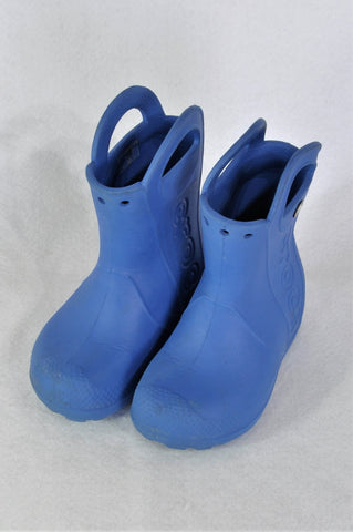 Crocs Blue Handle Rain Boots Boys Children Size 8