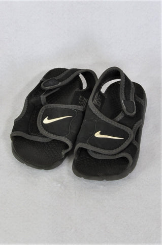Nike Black Velcro Strap Sandals Boys Children Size 8