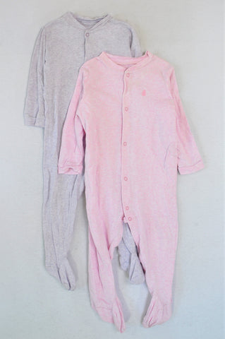 Woolworths Set Of 2 Pink And Grey-Purple Onesies Girls 18-24 months