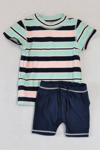 Woolworths Multi Coloured Striped Top And Navy Shorts Swimming Costume Boys 1-2 years