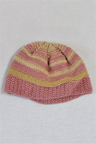 Unbranded Pink And Beige Beanie Girls 2-4 years