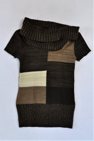 Foschini Brown Cowl Neck Short Sleeve Jersey Women Size XS