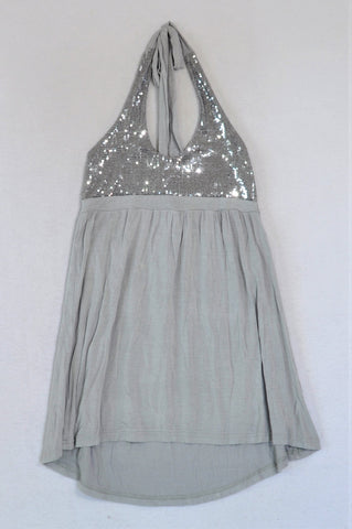 Mr. Price Silver Sequin Halterneck Top Women Size XS