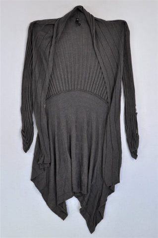 Woolworths Grey Ribbed Open Cardigan Women Size S