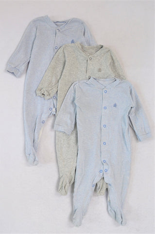 Woolworths Set Of 3, 2x Light Blue Striped And Grey Onesies Unisex 3-6 months