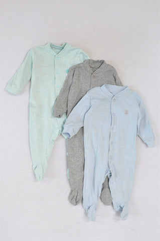 Woolworths Set Of 3 Light Green, Grey And Blue Striped Onesies Unisex N-B