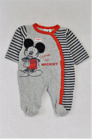 Disney Grey Mickey Mouse Onesie Boys N-B