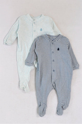 Woolworths Set Of 2 Green And Blue Striped Onesies Unisex 0-3 months