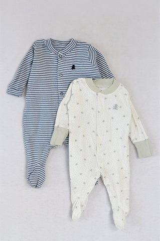 Woolworths Set Of 2 White Teddy And Blue Striped Onesies Unisex N-B