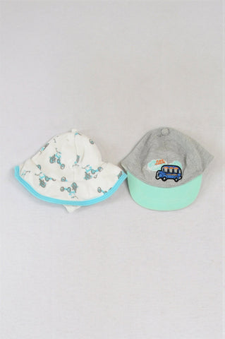 Woolworths Set Of 2 Car And Bike Hat Boys 0-3 months