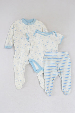 M&S White With Light Blue Building Blocks Babygrow And Striped Pants And Onesies Outfit Boys 0-3 months