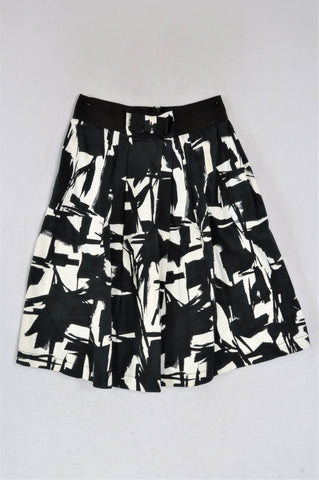 Inwear Black & White Brush Strokes, Bow Detail Midi Skirt Women Size 30