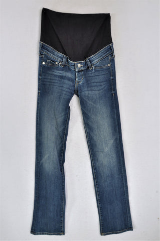 H&M Stone Washed Denim Full Panel Navy Band Maternity Jeans Size 8