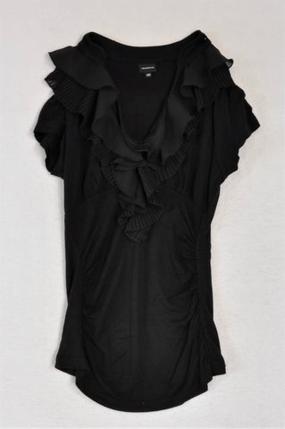 Truworths Black Frill Collar Blouse Women Size 30
