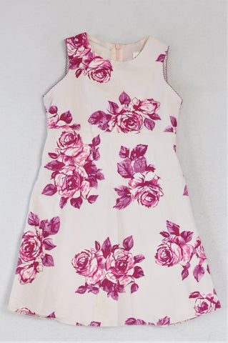 Next White With Pink Flowers Dress Girls 4-5 years