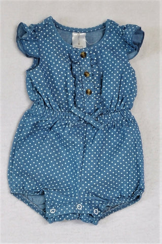 Clicks Chambray Dotted Romper Girls 0-3 months