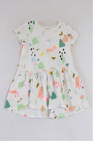 H&M White With Colourful Shapes Dress Girls 18-24 months