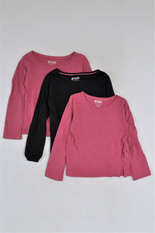 Pick 'n Pay Set Of 3, 2X Pink And Black Long Sleeve T-Shirts Girls 4-5 years