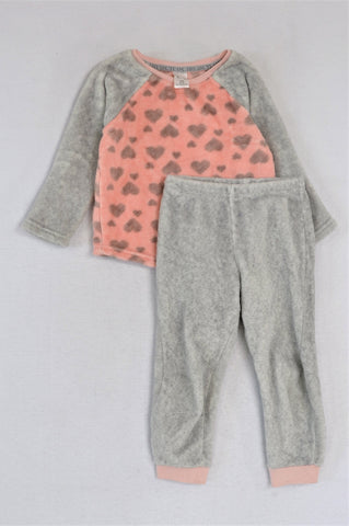 KDS Pink And Grey Fluffy Pyjamas Girls 2-3 years