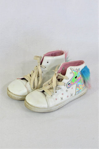Friends Inc. White Unicorn Lace Up High Top Shoes Girls Children Size 13