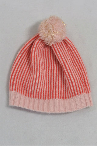Cotton On Striped Coral And Light Pink Pom Pom Beanie Girls 3-5 years