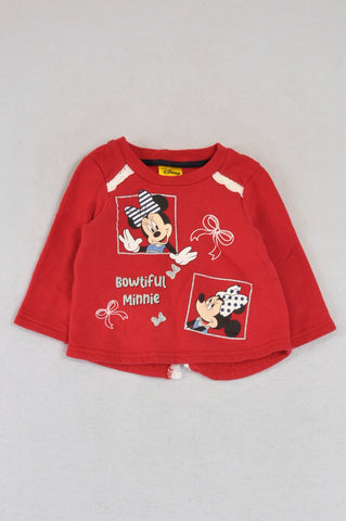 Disney Red Minnie Mouse Crochet Detail Rear V-Split Pullover Top Girls 6-9 months